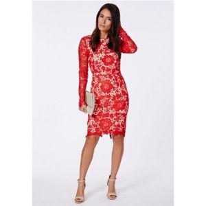Missguided red Veronica open back lace midi dress